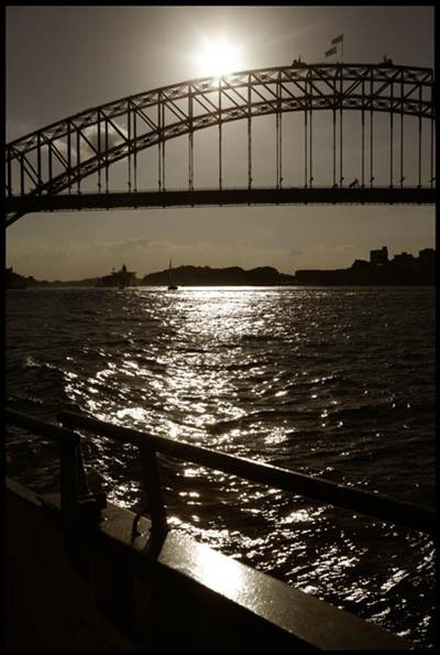 Harbour Bridge from a ferry - bathed in sunlight