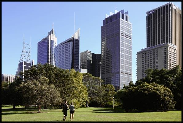 a view of the city across the lawns of the Botanic Garden