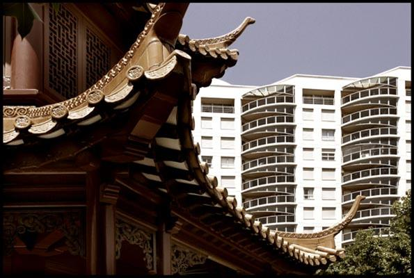 traditional pagoda style building vs modern apartment block, Chinese Garden of Friendship - Darling Harbour